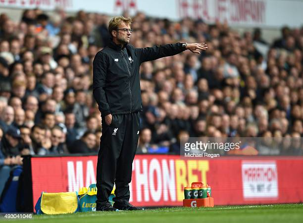 Jurgen Klopp manager of Liverpool gestures during the Barclays Premier League match between Tottenham Hotspur and Liverpool at White Hart Lane on...