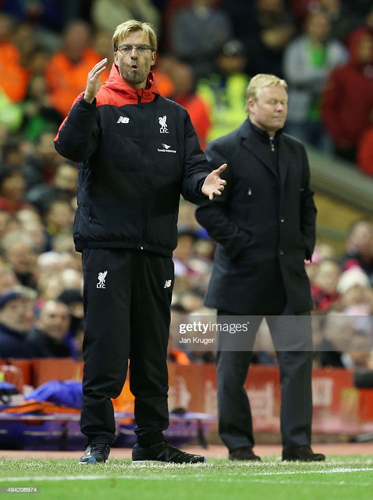 Jurgen Klopp, manager of Liverpool gestures during the Barclays Premier League match between Liverpool and Southampton at Anfield on October 25, 2015 in Liverpool, England.