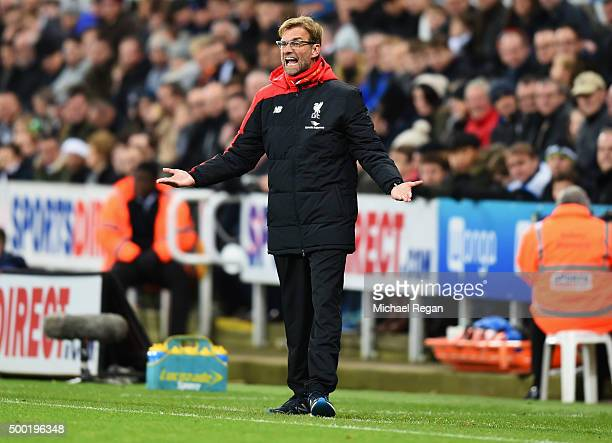 Jurgen Klopp manager of Liverpool gestures during the Barclays Premier League match between Newcastle United and Liverpool at St James' Park on...