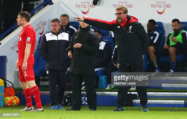Jurgen Klopp manager of Liverpool gestures during the Barclays Premier League match between Leicester City and Liverpool at The King Power Stadium on...