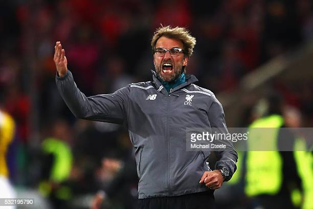 Jurgen Klopp manager of Liverpool gestures during the UEFA Europa League Final match between Liverpool and Sevilla at St JakobPark on May 18 2016 in...