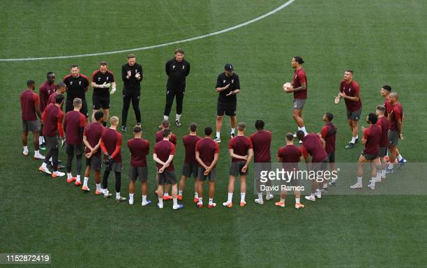 Jurgen Klopp Manager of Liverpool gives his team instructions during the Liverpool FC training session on the eve of the UEFA Champions League Final...