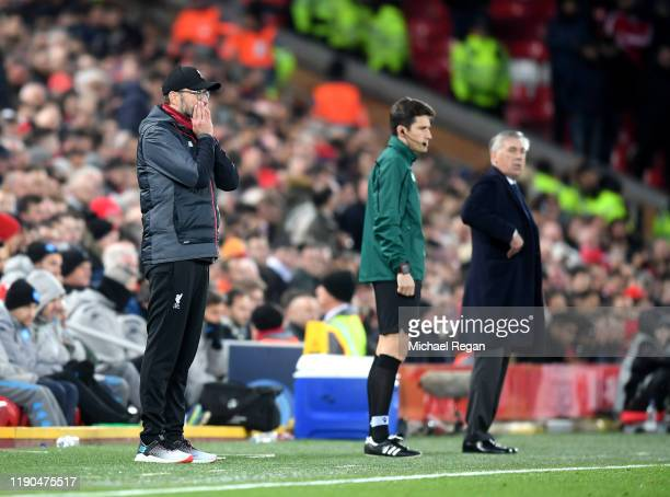Jurgen Klopp, Manager of Liverpool gives his team instructions during the UEFA Champions League group E match between Liverpool FC and SSC Napoli at...