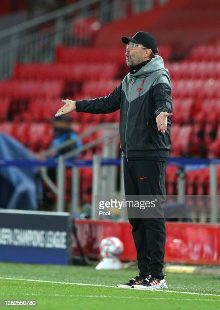 Jurgen Klopp Manager of Liverpool gives his team instructions during the UEFA Champions League Group D stage match between Liverpool FC and FC...