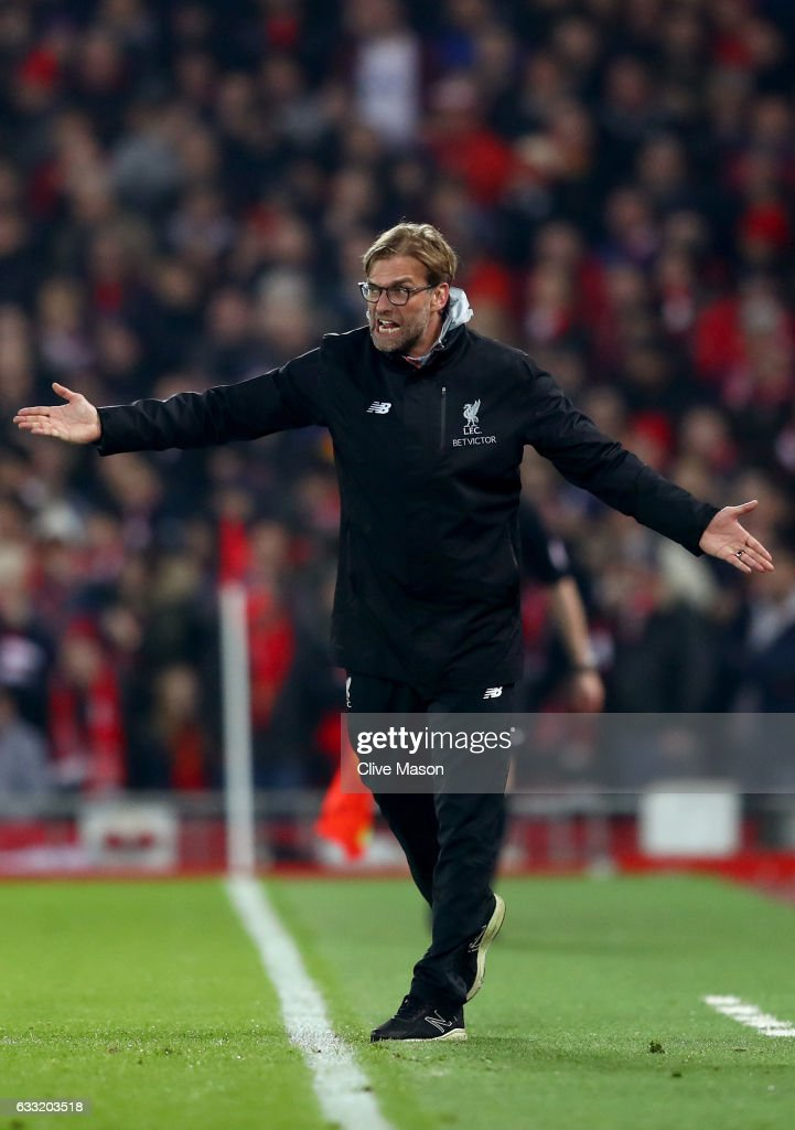 Jurgen Klopp, Manager of Liverpool gives instruction during the Premier League match between Liverpool and Chelsea at Anfield on January 31, 2017 in Liverpool, England.