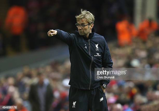 Jurgen Klopp manager of Liverpool gives instructions during the Capital One Cup Fourth Round match between Liverpool and AFC Bournemouth at Anfield...