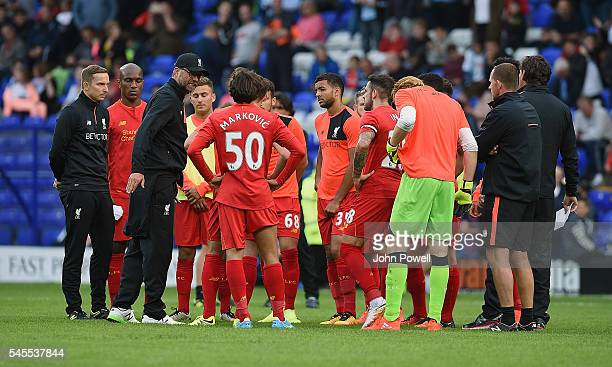 Jurgen Klopp manager of Liverpool gives team talk at half time during a PreSeason Friendly match between Tranmere Rovers and Liverpool at Prenton...