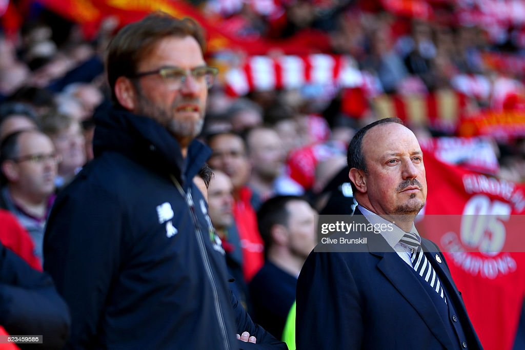 Jurgen Klopp, manager of Liverpool iand Rafa Benitez, Manager of Newcastle United look on during the Barclays Premier League match between Liverpool and Newcastle United at Anfield on April 23, 2016 in Liverpool, United Kingdom.