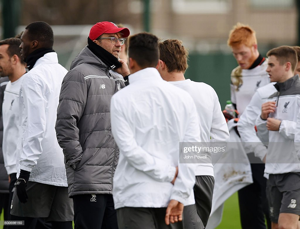 Jurgen Klopp manager of Liverpool in action during a training session at Melwood Training Ground on December 9, 2015 in Liverpool, England.