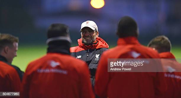 Jurgen Klopp manager of Liverpool in action during a training session at Melwood Training Ground on January 12 2016 in Liverpool England