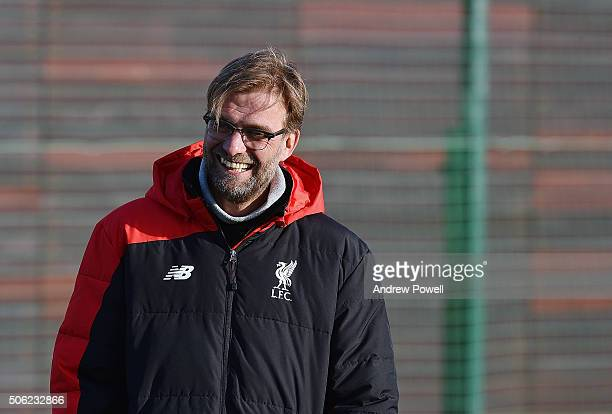 Jurgen Klopp manager of Liverpool in action during a training session at Melwood Training Ground on January 22 2016 in Liverpool England