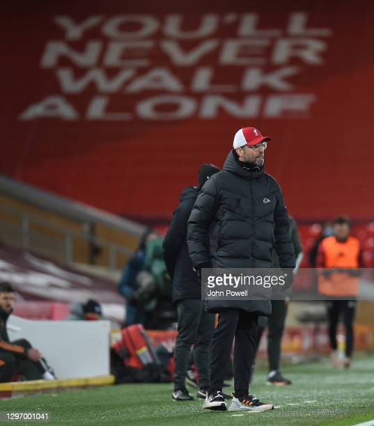 Jurgen Klopp manager of Liverpool in action during the Premier League match between Liverpool and Manchester United at Anfield on January 17, 2021 in...