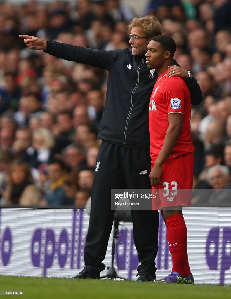 Jurgen Klopp, manager of Liverpool instructs Jordon Ibe before bringing him in during the Barclays Premier League match between Tottenham Hotspur and Liverpool at White Hart Lane on October 17, 2015 in London, England.