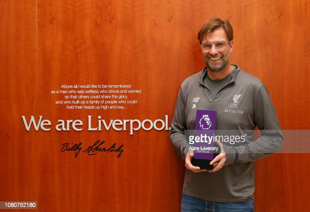 Jurgen Klopp, manager of Liverpool is presented with the Barclays Manager of the Month Award for December 2018 at Melwood Training Ground on January...