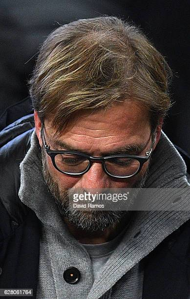 Jurgen Klopp, Manager of Liverpool is seen in the stands prior to kick off during the UEFA Champions League Group C match between FC Barcelona and...