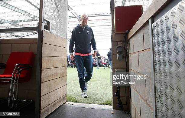 Jurgen Klopp Manager of Liverpool leaves following a press conference ahead of the UEFA Europa League quarter final between Liverpool and Borussia...