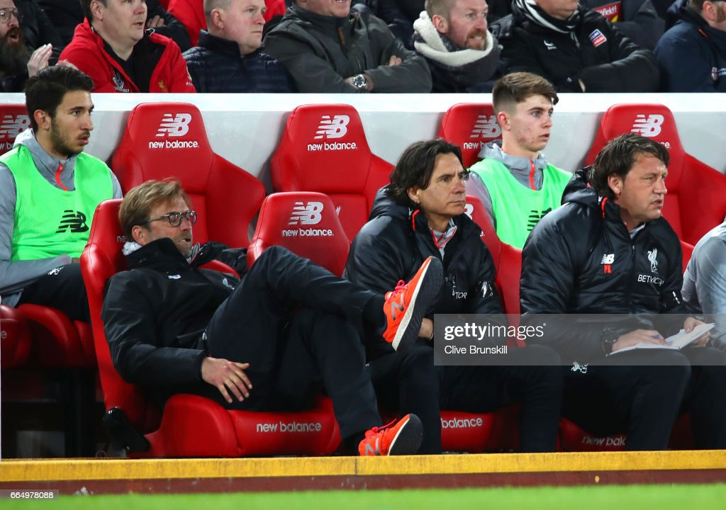 Jurgen Klopp, Manager of Liverpool lookds dejected during the Premier League match between Liverpool and AFC Bournemouth at Anfield on April 5, 2017 in Liverpool, England.