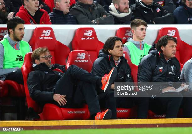 Jurgen Klopp Manager of Liverpool lookds dejected during the Premier League match between Liverpool and AFC Bournemouth at Anfield on April 5 2017 in...