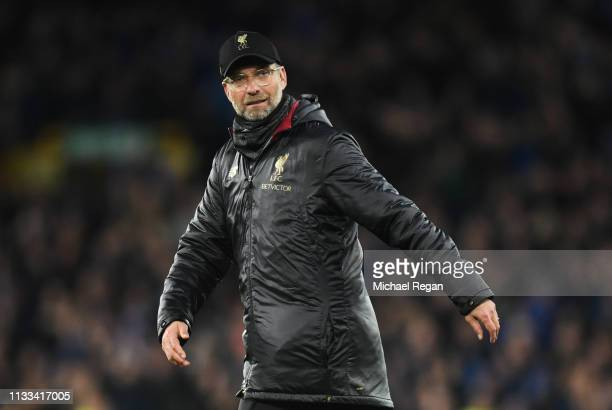 Jurgen Klopp, Manager of Liverpool looks on after the Premier League match between Everton FC and Liverpool FC at Goodison Park on March 03, 2019 in...