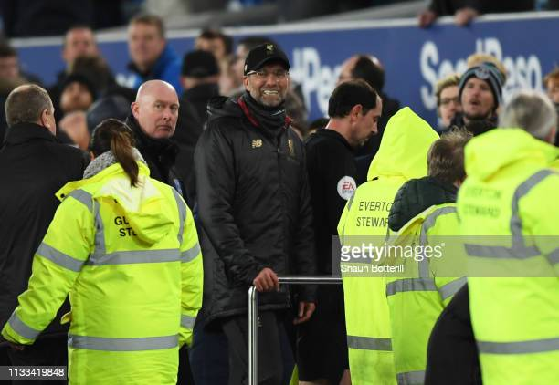 Jurgen Klopp Manager of Liverpool looks on after the Premier League match between Everton FC and Liverpool FC at Goodison Park on March 03 2019 in...