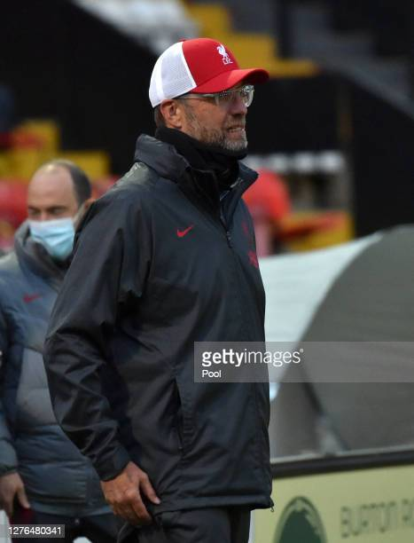 Jurgen Klopp Manager of Liverpool looks on ahead of the Carabao Cup third round match between Lincoln City and Liverpool at Sincil Bank Stadium on...