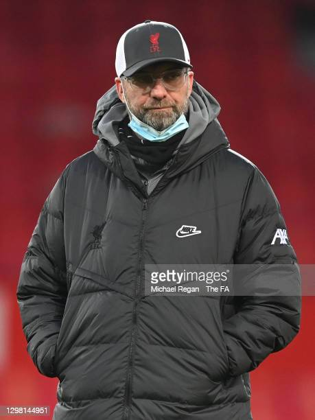 Jurgen Klopp, Manager of Liverpool looks on ahead of The Emirates FA Cup Fourth Round match between Manchester United and Liverpool at Old Trafford...
