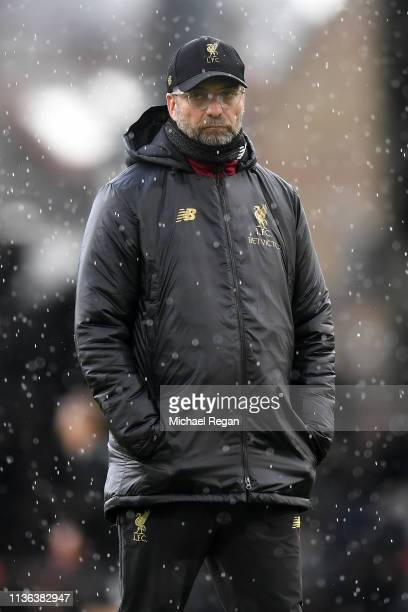 Jurgen Klopp Manager of Liverpool looks on ahead of the Premier League match between Fulham FC and Liverpool FC at Craven Cottage on March 17 2019 in...
