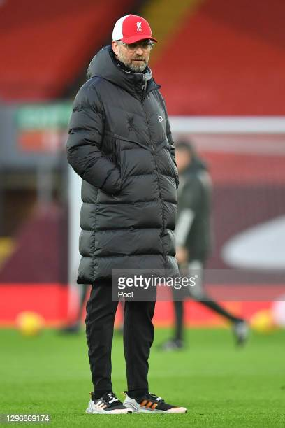 Jurgen Klopp, Manager of Liverpool looks on ahead of the Premier League match between Liverpool and Manchester United at Anfield on January 17, 2021...