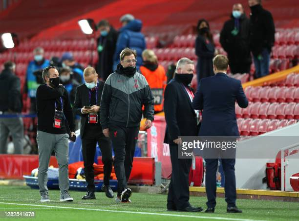 Jurgen Klopp Manager of Liverpool looks on ahead of the UEFA Champions League Group D stage match between Liverpool FC and FC Midtjylland at Anfield...