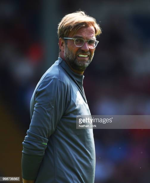 Jurgen Klopp manager of Liverpool looks on before the preseason friendly match between Bury and Liverpool at Gigg Lane on July 14 2018 in Bury England