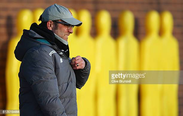 Jurgen Klopp manager of Liverpool looks on during a Liverpool training session ahead of their UEFA Europa League round of 32 second leg match against...