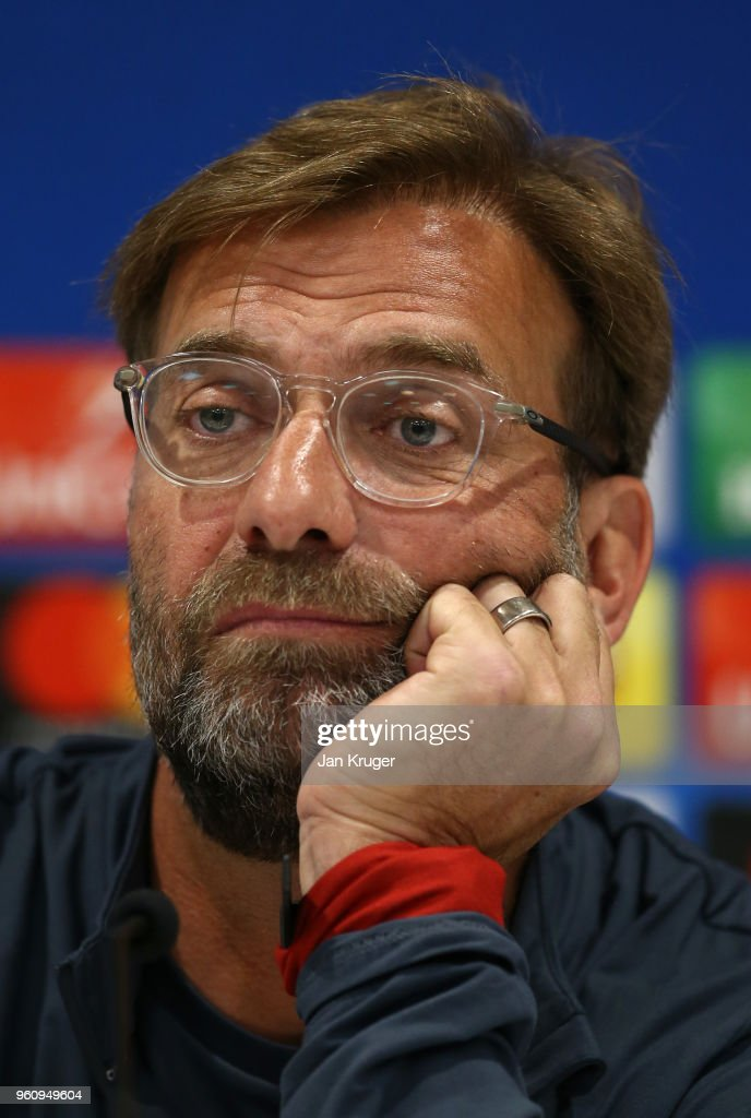 Jurgen Klopp, Manager of Liverpool looks on during a press conference at Anfield on May 21, 2018 in Liverpool, England.