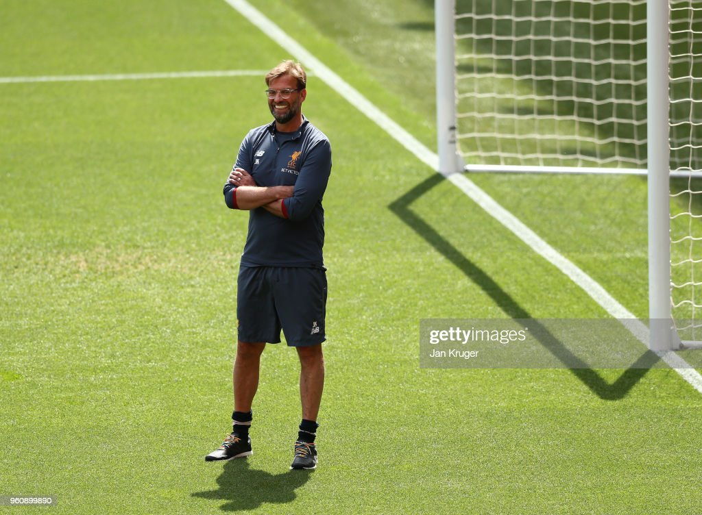 Jurgen Klopp, Manager of Liverpool looks on during a training session at Anfield on May 21, 2018 in Liverpool, England.