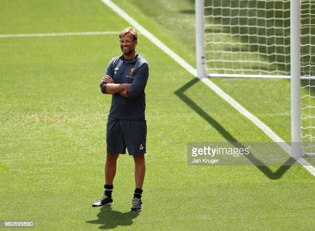 Jurgen Klopp Manager of Liverpool looks on during a training session at Anfield on May 21 2018 in Liverpool England