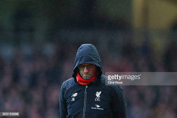 Jurgen Klopp manager of Liverpool looks on during the Barclays Premier League match between West Ham United and Liverpool at Boleyn Ground on January...