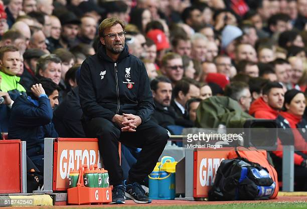 Jurgen Klopp manager of Liverpool looks on during the Barclays Premier League match between Liverpool and Tottenham Hotspur at Anfield on April 2...