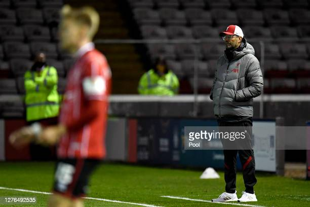 Jurgen Klopp Manager of Liverpool looks on during the Carabao Cup third round match between Lincoln City and Liverpool at Sincil Bank Stadium on...