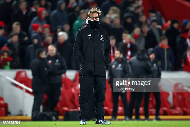 Jurgen Klopp Manager of Liverpool looks on during the EFL Cup SemiFinal Second Leg match between Liverpool and Southampton at Anfield on January 25...
