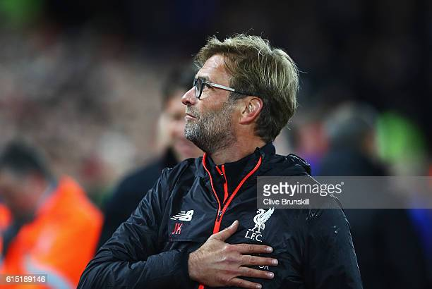 Jurgen Klopp Manager of Liverpool looks on during the Premier League match between Liverpool and Manchester United at Anfield on October 17 2016 in...