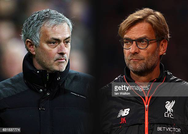 GRADIENT ADDED COMPOSITE OF TWO IMAGES Image numbers 630799888 and 619016290 In this composite image a comparison has been made between Jose Mourinho...