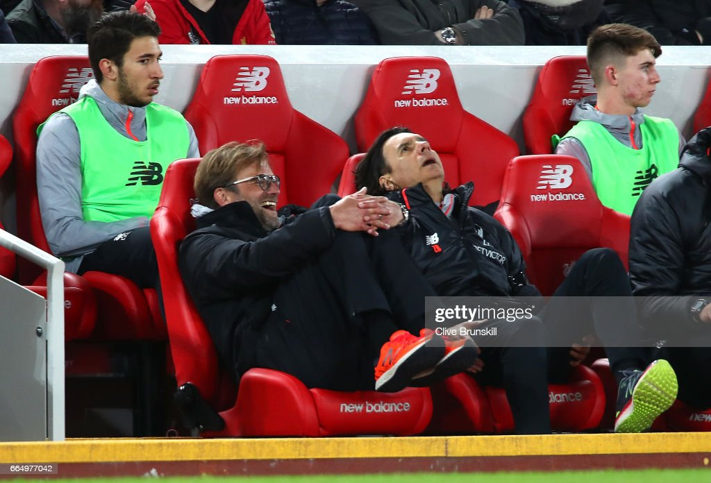 Jurgen Klopp, Manager of Liverpool looks on during the Premier League match between Liverpool and AFC Bournemouth at Anfield on April 5, 2017 in Liverpool, England.