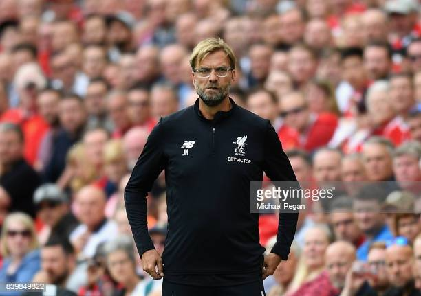 Jurgen Klopp Manager of Liverpool looks on during the Premier League match between Liverpool and Arsenal at Anfield on August 27 2017 in Liverpool...