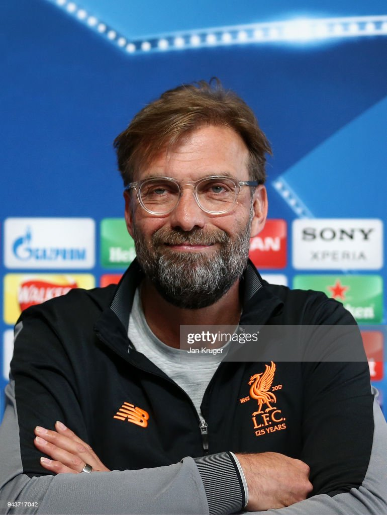 Jurgen Klopp, Manager of Liverpool looks on during the Press Conference at Manchester City Football Academy on April 9, 2018 in Manchester, England.