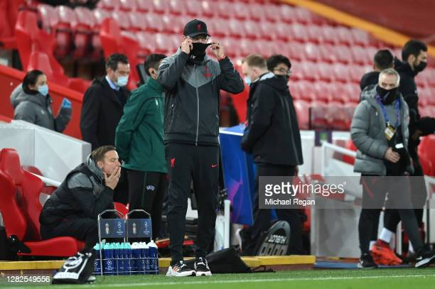 Jurgen Klopp Manager of Liverpool looks on during the UEFA Champions League Group D stage match between Liverpool FC and FC Midtjylland at Anfield on...