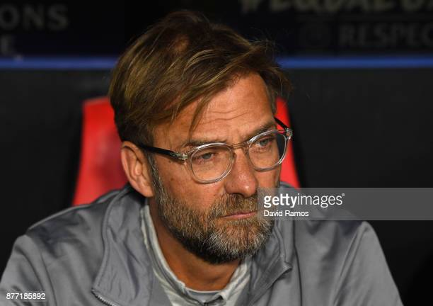 Jurgen Klopp Manager of Liverpool looks on during the UEFA Champions League group E match between Sevilla FC and Liverpool FC at Estadio Ramon...