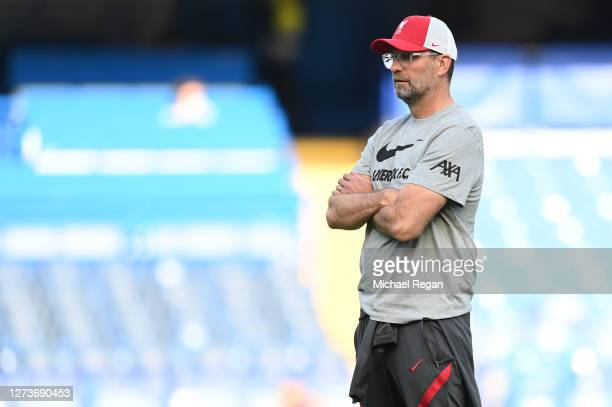 Jurgen Klopp Manager of Liverpool looks on during the warm up prior to the Premier League match between Chelsea and Liverpool at Stamford Bridge on...