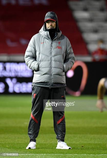 Jurgen Klopp Manager of Liverpool looks on during the warm up prior to the Carabao Cup third round match between Lincoln City and Liverpool at Sincil...