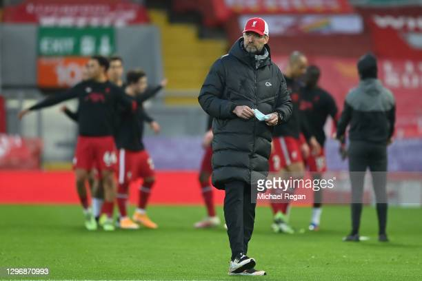 Jurgen Klopp, Manager of Liverpool looks on during the warm up prior to the Premier League match between Liverpool and Manchester United at Anfield...