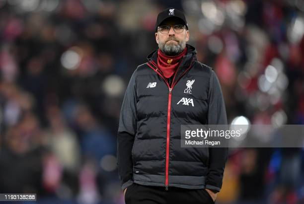 Jurgen Klopp Manager of Liverpool looks on during their warm up ahead of the UEFA Champions League group E match between RB Salzburg and Liverpool FC...
