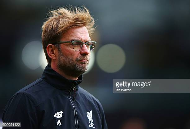 Jurgen Klopp manager of Liverpool looks on prior to the Barclays Premier League match between Watford and Liverpool at Vicarage Road on December 20...